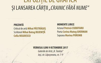 """EXPOZIȚIE   DE GRAFICĂ ȘI LANSAREA CĂRȚII  ,,CRAINIC FĂRĂ NUME"""" – MARIANA STRATULAT"""