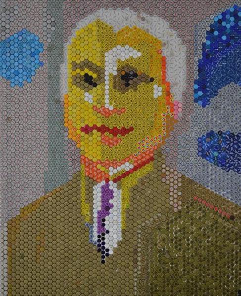 Soldat Cojocaru M. Nicolae 200x160 cm mozaic de capace