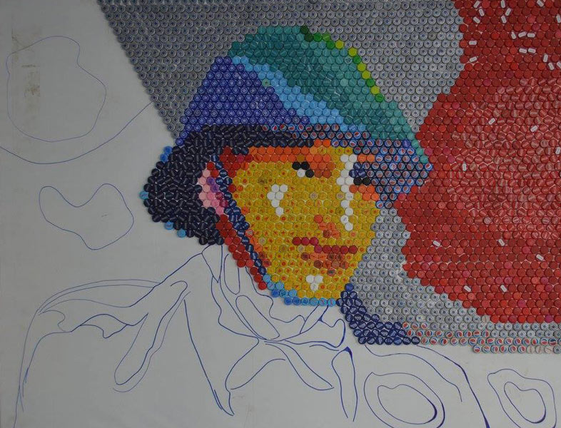 Soldat necunoscut 160x200 cm mozaic de capace