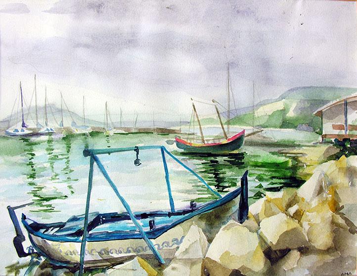 """na-Maria Ovadiuc , ,,Vedere către mare -Balcic"""", acuarelă pe hârtie, 36 x 48 cm , 2011"""