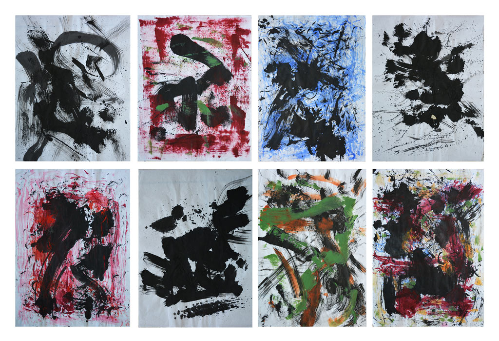 Ritmuri si gânduri colorate, tuş şi acrylic pe hârtie de orez, poliptic alcătuit din opt lucrări fiecare de dimensiun 45x62cm,-2015