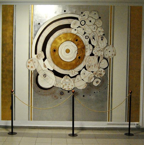 PRIMA Cercul intre poveste si simbol 3,20cm2,60cm tehnica mixta(foita aur si argint,acrilice)