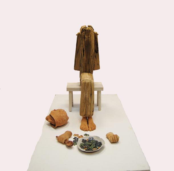 Senectute  70cm,20cm Tehnica mixta(lemn,ceramica)