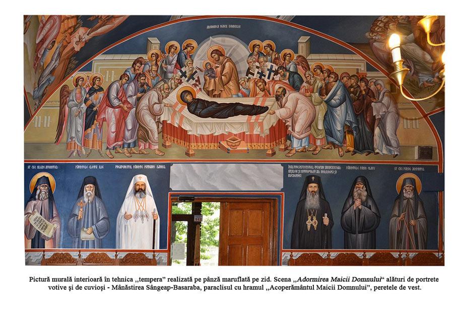 Adormirea Maicii Domnului alaturi de portrete votive si de cuviosi tempera pe panza maruflata pe zid manastirea Sangeap Basarab