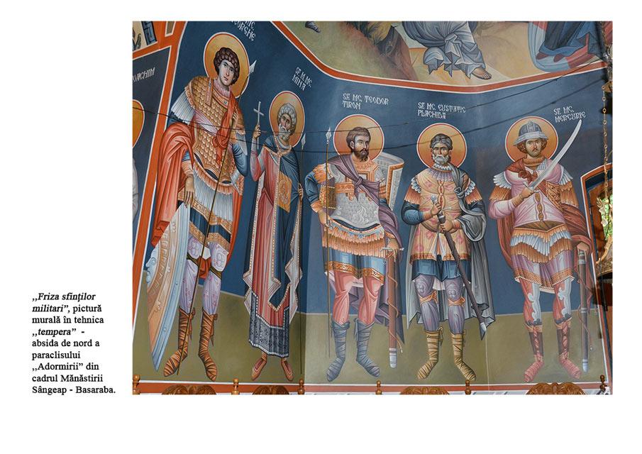 Friza sfintilor militari tempera manastirea Sangeap Basaraba absida de nord
