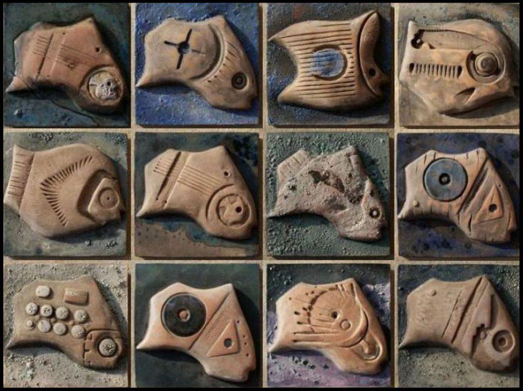 Ansamblu-decorativ--modular--cu-pești-–-Detaliu---Ceramică-parțial-glazurată-module-10-10cm