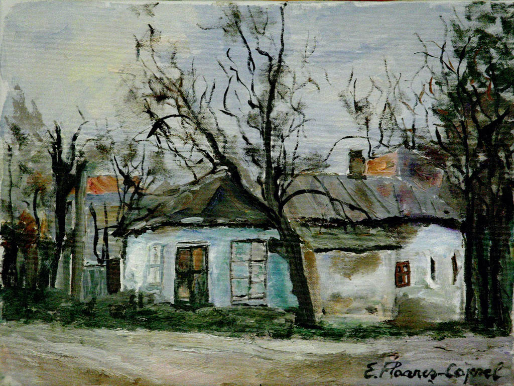 Case vechi în Tătărași, ulei pe pânză, 40 x 50 cm