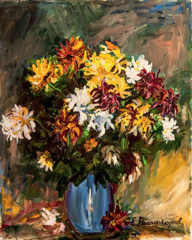 Crizanteme, ulei pe pânză, 60 x 50 cm
