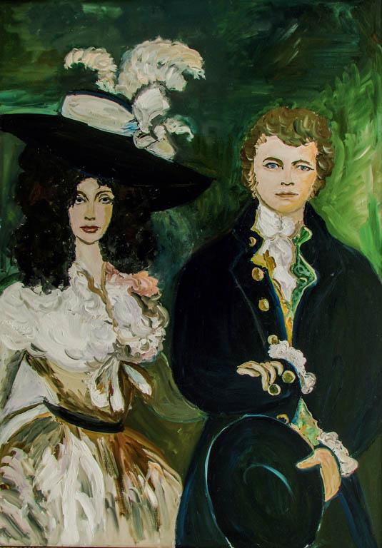 Familia Elena și Eugen Cojenel, d' après Gainsborough, ulei pe pânză, 100 x 80 cm