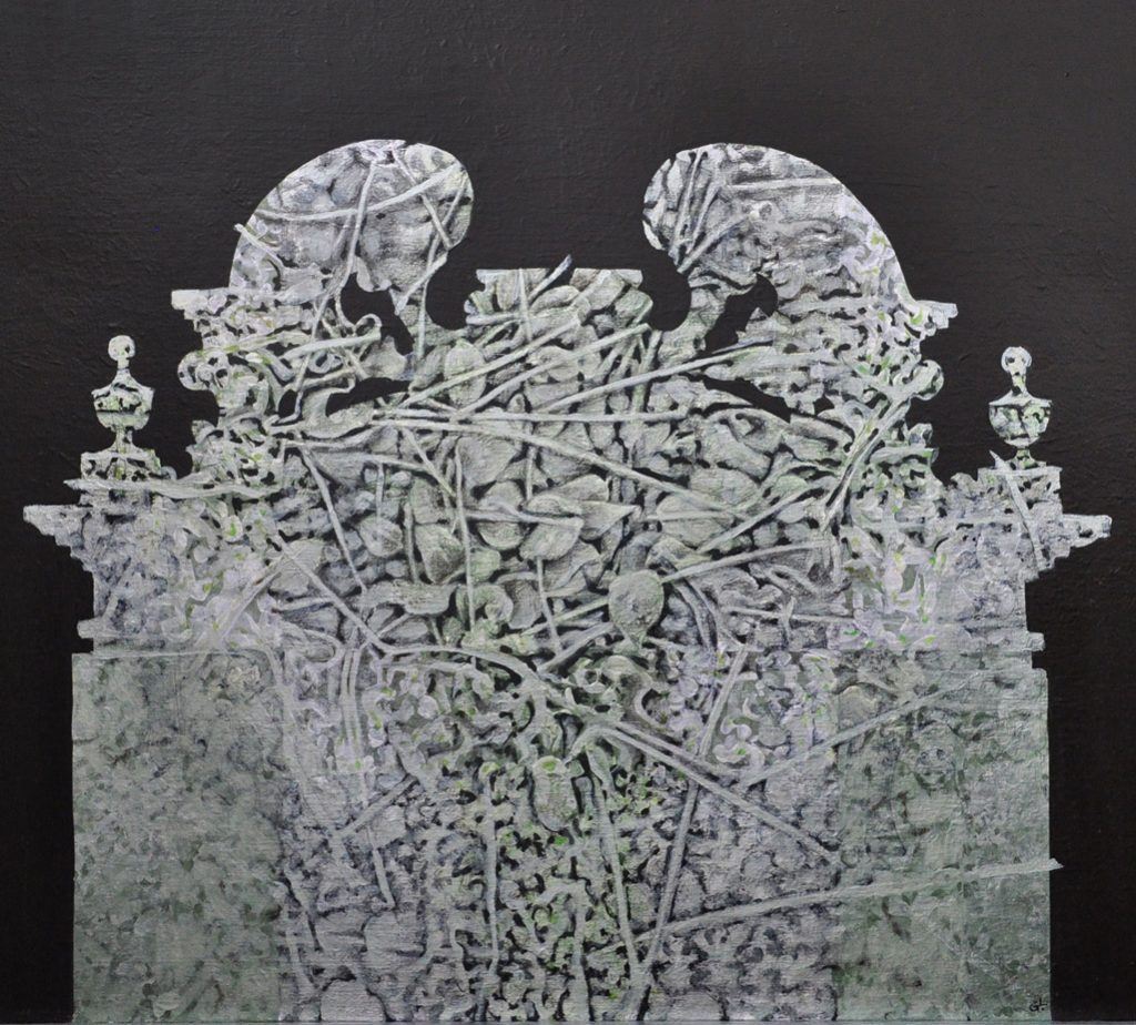 Studiu vegetal - interferente  2014, tehnica mixta pe panza, 50x70cm