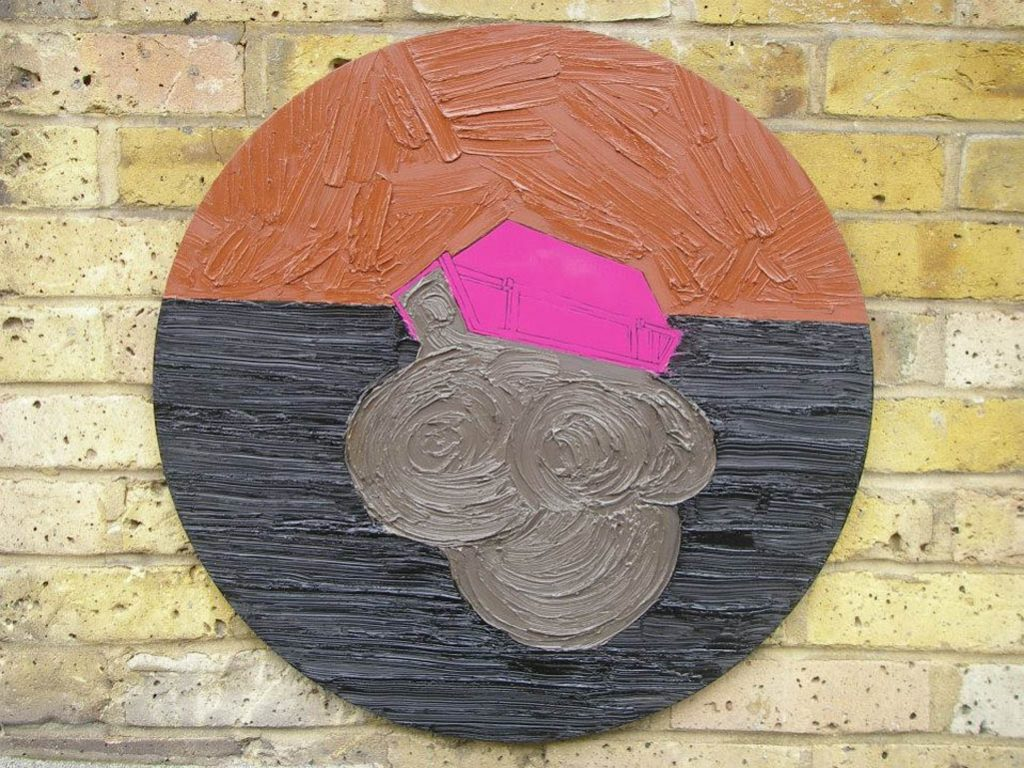 Beneath the edge, 2010, Oil, acrylic and enamel on board, 61cm diameter