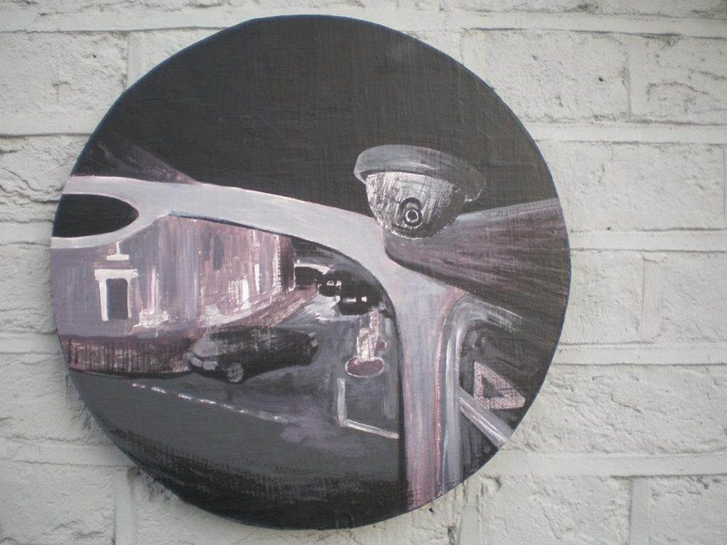 CCTV, 2007, Acrylic on board, 34,5cm diameter