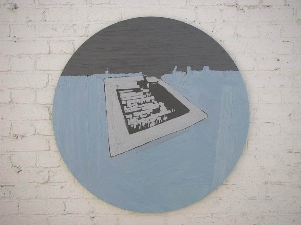 Industrial Ruins, 2008, Acrylic and oil on board, 94cm diameter