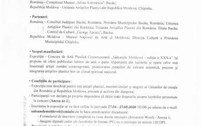 """ANUNȚ """"Saloanele Moldovei – ediția a XXX-a""""- prelungirea până în data de 10 iunie inclusiv."""