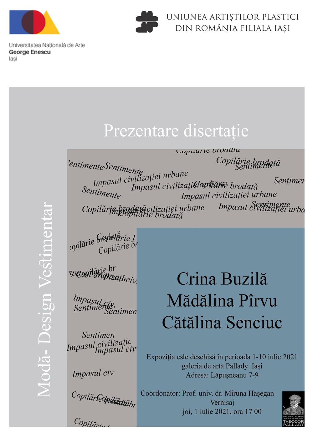 Expoziție de artă textilă cu lucrări de disertaţie – Crina Buzilă, Mădălina Pîrvu, Cătălina Senciuc