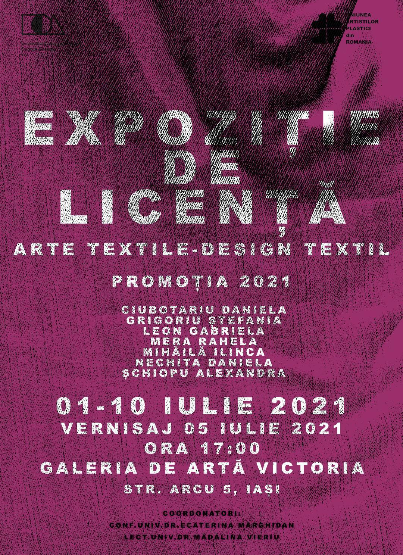 Expoziție de licență Arte Textile - Design textil, promoția 2021 UNAGE Iași
