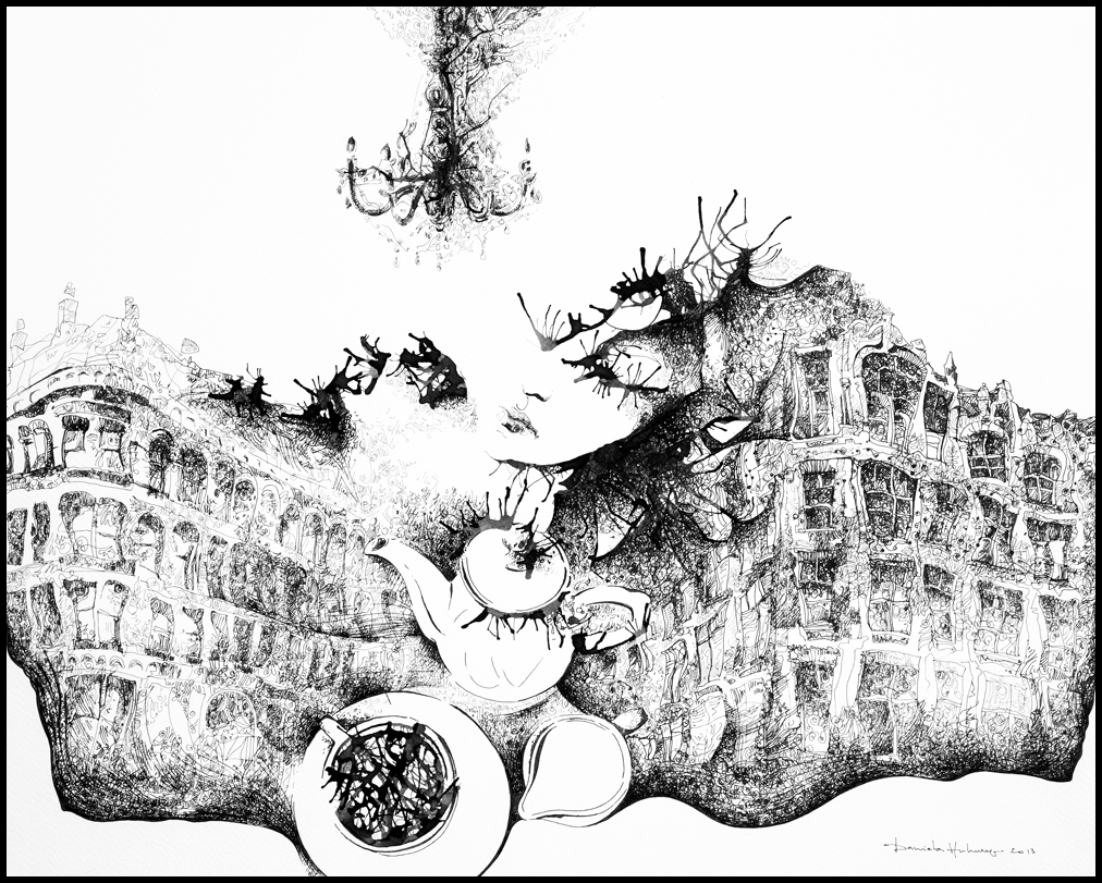 Tea in the City - ink on paper, 39x49 cm