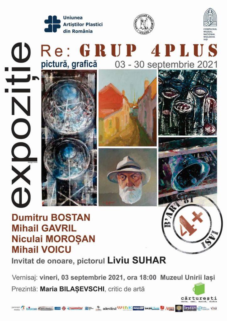 """Expoziție de pictură și grafică - """"RE GRUP 4 PLUS"""" – Dumitru Bostan, Mihail Gavril, Niculai Moroșan, Mihail Voicu, Invitat de onoare, pictorul Liviu Suhar"""